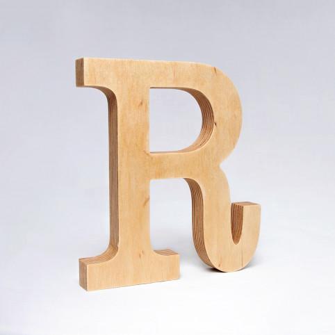 R dřevěné písmeno